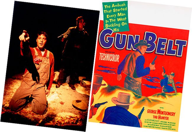 """Image from the stage adaptation of John Steinbeck's """"Of Mice and Men,"""" courtesy photograph by Randall Wise for the Iron Age Theatre's production at the Centre Theatre, Norristown, Pennsylvania, November 2002. (R) 1953 United Artists western film lobby card, """"Gun Belt."""" MS 323 Don Look Collection."""