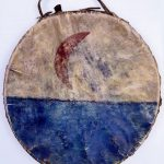 Hand drum, Chahiksichahiks (Pawnee), Oklahoma, 1885. Wood; rawhide; blue, black, and red pigments. Chandler-Pohrt Collection, Gift of Mr. William D. Weiss. NA.505.35