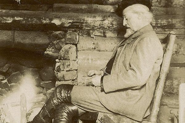 Bacon captured Buffalo Bill in a rare moment of repose in front of the fire at the TE Ranch. Photograph by Irving R. Bacon. MS 6 William F. Cody Collection. P.6.546.58B