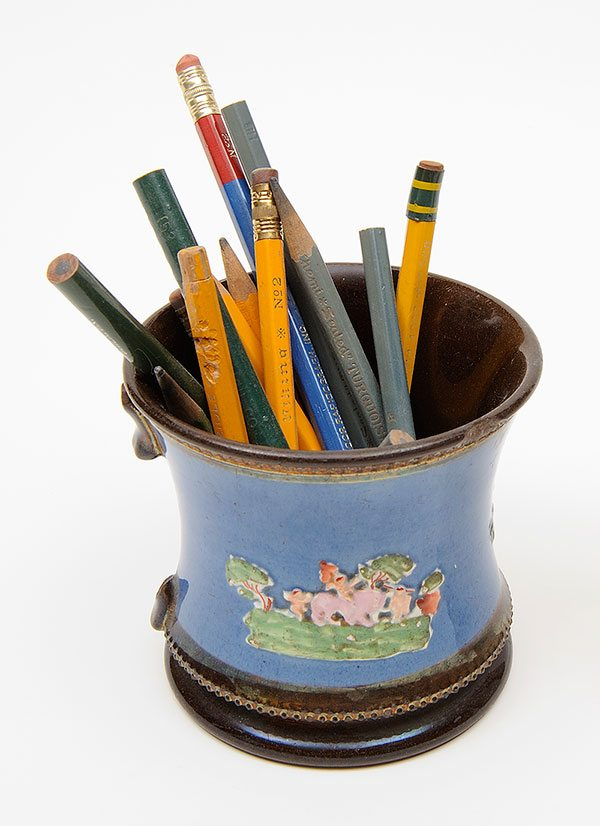 Ceramic mug with pencils from W.H.D. Koerner Studio Collection. Gift of the artist's heirs, W.H.D. Koerner III and Ruth Koerner Oliver. 3.78.10
