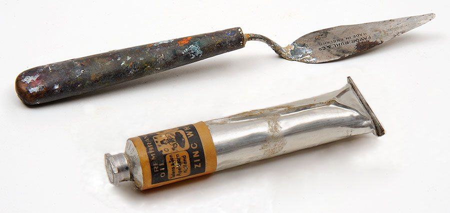 Palette knife and paint tube from W.H.D. Koerner Studio Collection. Gift of the artist's heirs, W.H.D. Koerner III and Ruth Koerner Oliver. 3.78.65.7 and 3.78.65.2