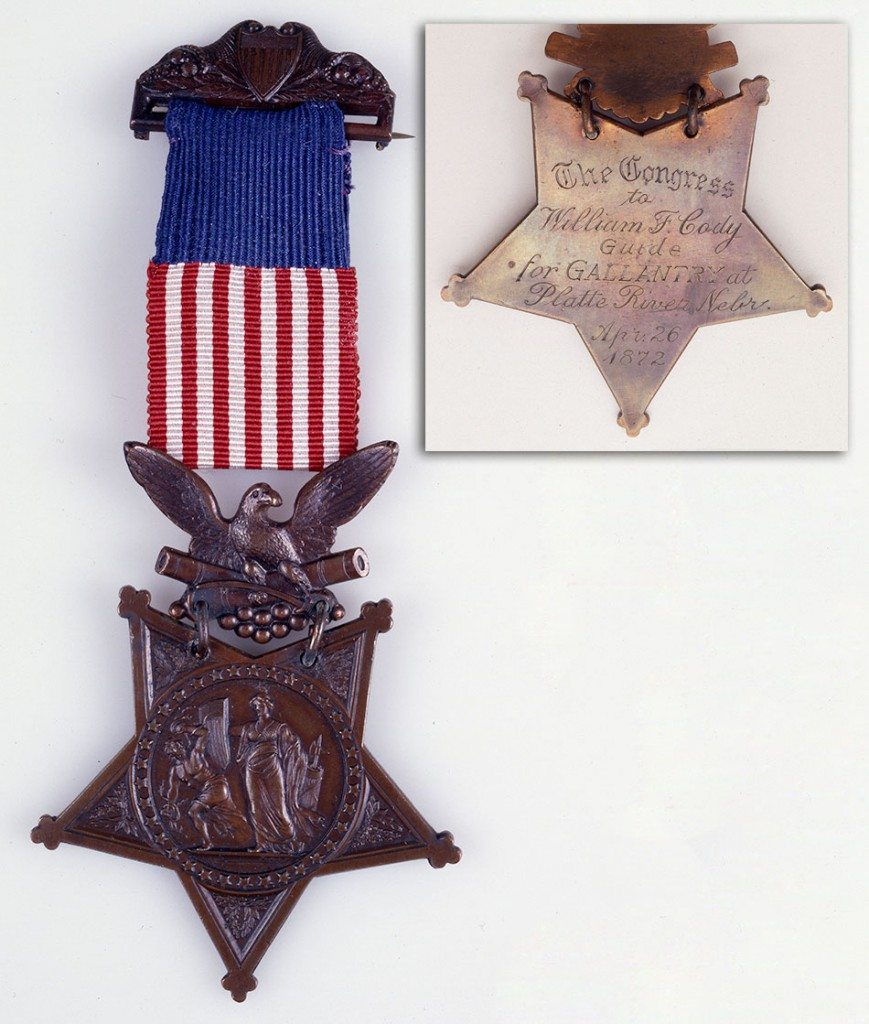 Buffalo Bill Cody's Congressional Medal of Honor, with inset showing inscription on the reverse. 1.69.2036