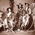 "The ""Flamboyant Fraternity"": left to right, Elisha P. Green, James Butler Hickok, William F. Cody, John B. ""Texas Jack"" Omohundro, and Eugene Overton, 1873. R.H. Furman photograph. Museum Purchase, Garlow Collection. P.6.908"