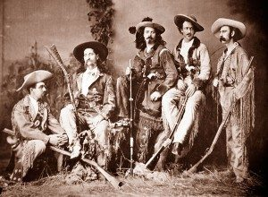 "A Treasure from Our West: The ""Flamboyant Fraternity"": left to right, Elisha P. Green, James Butler Hickok, William F. Cody, John B. ""Texas Jack"" Omohundro, and Eugene Overton, 1873. R.H. Furman photograph. Museum Purchase, Garlow Collection. P.6.908"
