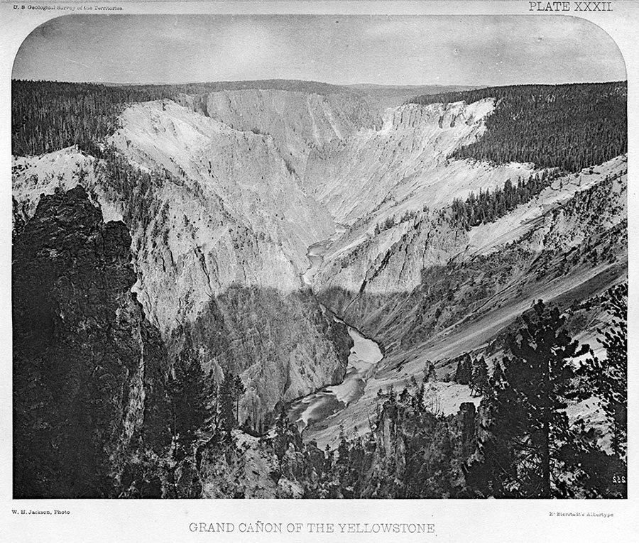 Albertype of William Henry Jackson photo of the Grand Canyon of the Yellowstone. U.S. Geological Survey of the Territories, 1871. Plate XXXII. Buffalo Bill Center of the West, Cody, Wyoming, USA. On loan from Dr. Robert Enteen. WHJ-A.034