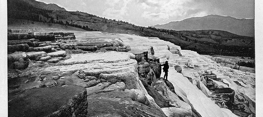 Albertype: White Mountain Hot Springs, 1871. We know it today as Mammoth Hot Springs. William Henry Jackson, photographer. WHJ-A.057