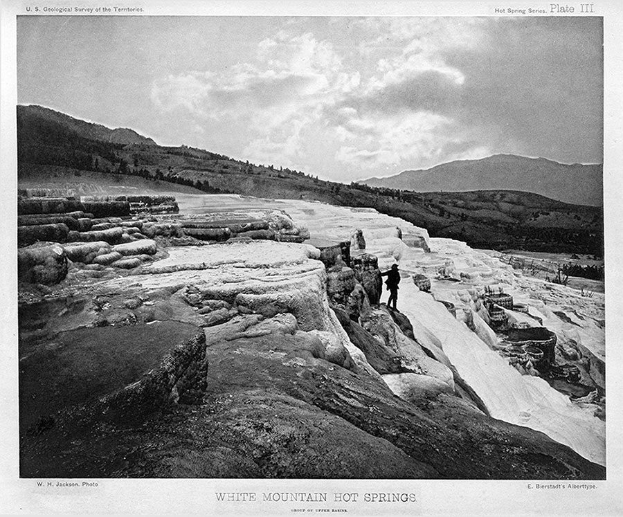 "An albertype from ""Yellowstone Discovered"": White Mountain Hot Springs, 1871. We know it today as Mammoth Hot Springs. William Henry Jackson, photographer. WHJ-A.057"