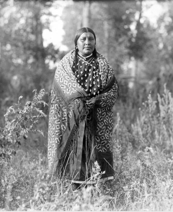 Crow woman wearing an elk tooth dress, 1902-1904. MS 247 Fred R. Meyer Collection. P.247.24