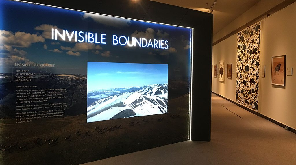 The Invisible Boundaries exhibition, pictured here at the Buffalo Bill Center of the West in 2016, appears at the National Museum of Wildlife Art in Jackson, Wyoming