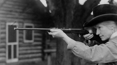 Annie Oakley on Long Island, New York, 1922. Gift of Dorothy Stone Collins. MS 6 William F. Cody Collection, McCracken Research Library. P.6.415 (detail)