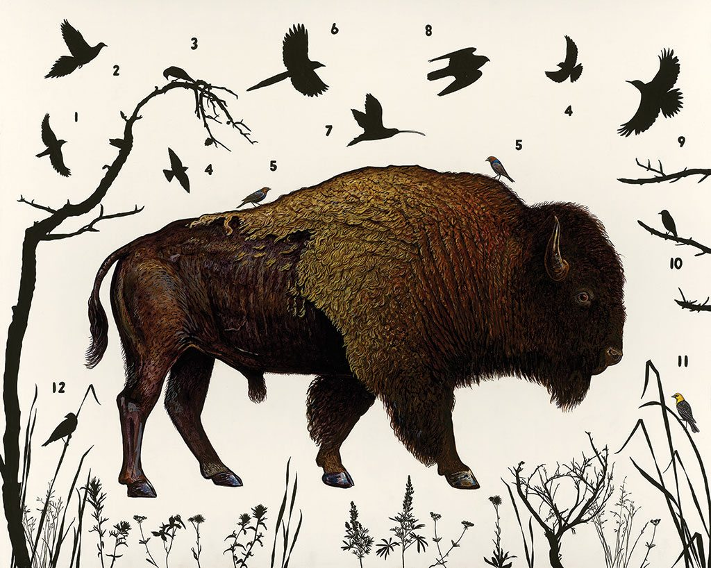 "James Prosek. ""American Bison (Wyoming),"" 2014. Oil, acrylic, and mixed media on wood panel. Art Scanning: Donald Sigovich, Westport, Connecticut."