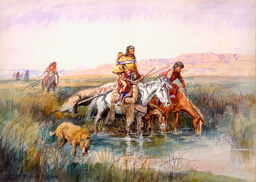 "Charles M. Russell (1964 – 1926). ""Indian Women Moving Camp,"" 1898. Watercolor on paper. Gift of William E. Weiss. 21.70"