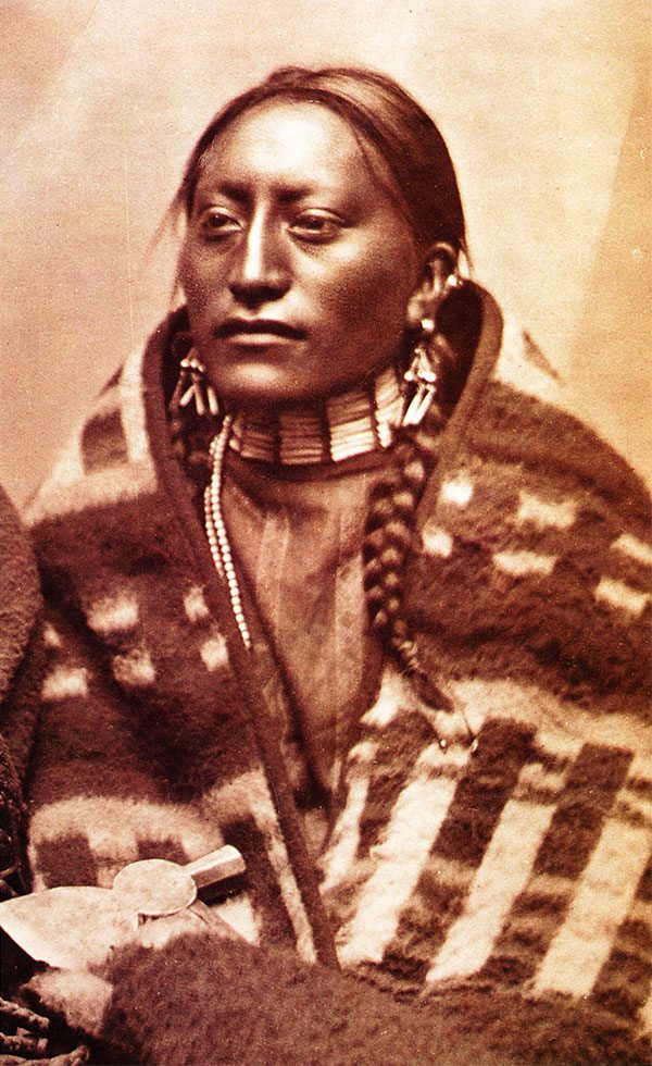 L.A. Huffman (1854-1931). Mrs. Man on the Hill, Brule Sioux, 1880. MS100 L.A. Huffman Collection. (detail)