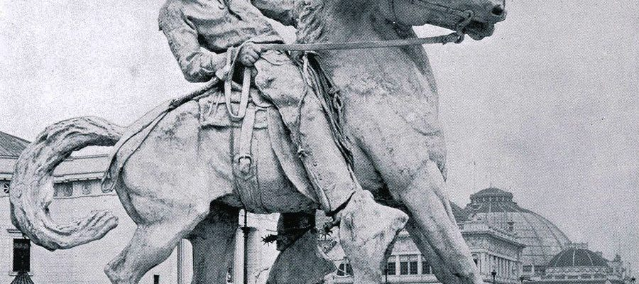 """Proctor's """"Cowboy"""" at the World's Columbian Exposition, Chicago, 1893. Photographic illustration from """"The Dream City, A Portfolio of Photographic Views of the World's Columbian Exposition with an introduction by Halsey C. Ives"""" (St. Louis: N.D. Thompson Co., 1893 – 94."""