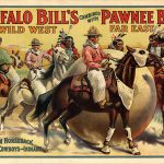 A Treasure from Our West: Wild West and Great Far East poster of cowboys and Indian playing football on horseback. 1.69.6521