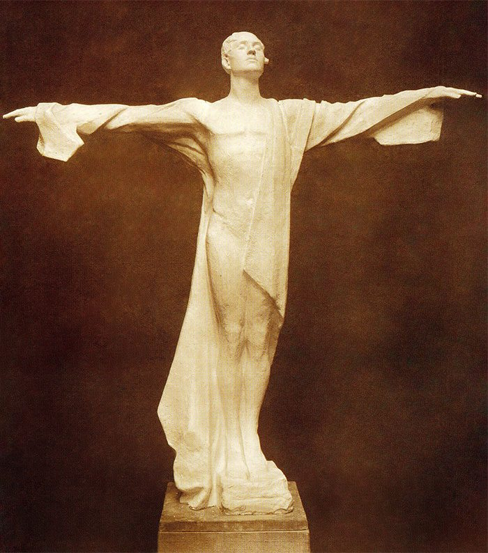 Sepia-tone photographic of Titanic Memorial by Gertrude Vanderbilt Whitney. MS 6 William F. Cody Collection. P.69.1311
