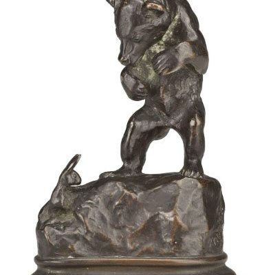 "Alexander Phimister Proctor (1860 – 1950). ""Bear Cub and Rabbit,"" ca. 1894. Bronze, 3.5 x 2.75 x 4.25 inches. Gift of A. Phimister Proctor Museum, donated by Sandy and Sally Church. 18.08.7"