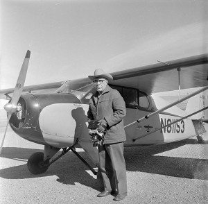 Jack Richard ready for some aerial photography, 1950s-1960s. PN.89.107.21018.04.3