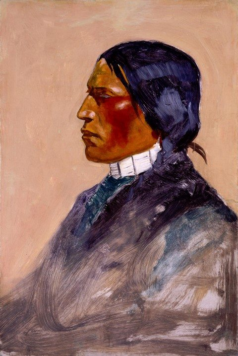 "Frederic Remington (1861 – 1909). ""Untitled,"" (Ute Man, study for ""A Monte Game at the Southern Ute Agency""), 1900. Oil on board, 18 3/4 x 12 1/4 in. Gift of the Coe Foundation. 26.67"