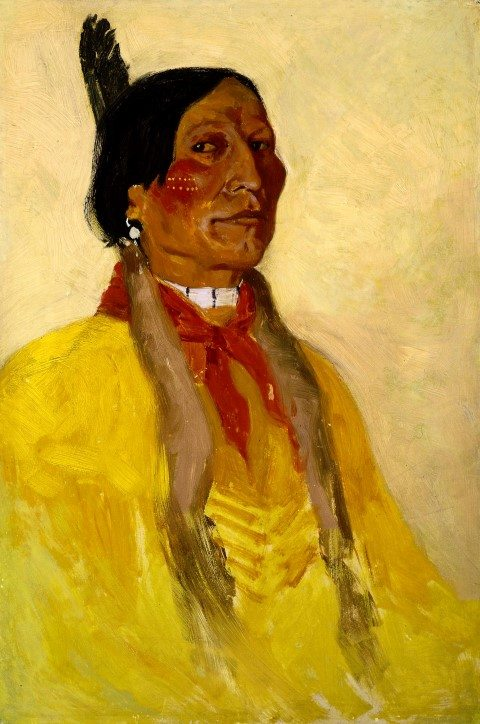 "Frederic Remington, (1861 – 1909). ""Untitled,"" (Indian Man with one eagle feather). Oil on board, 18 1/2 x 12 1/4 in. Gift of the Coe Foundation. 70.67"