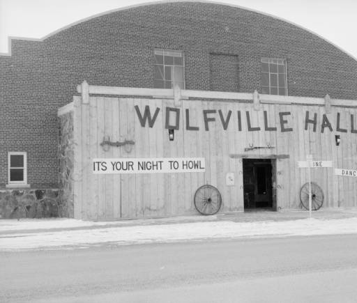 Jack Richards photo, Front of Cody Auditorium with Wolfville Hall Facade, 1960s. MS 89 Jack Richard Photograph Collection, McCracken Research Library. PN.89.52.10388.07