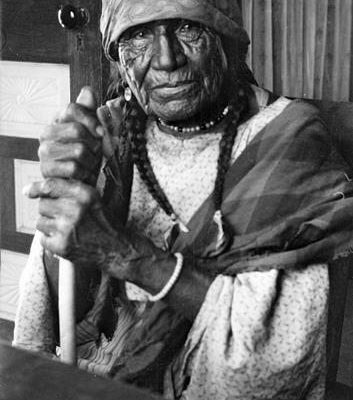 Cheyenne woman with cane
