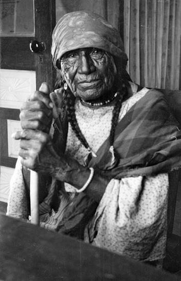 Cheyenne woman with cane