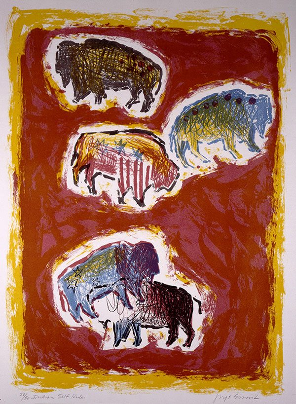 """Jaune Quick-To-See-Smith (b. 1940). """"Five Buffalo,"""" 1983. Lithograph on paper, 28 x 30 in. Gift of Mrs. Damaris D.W. Ethridge. 1.84.3"""