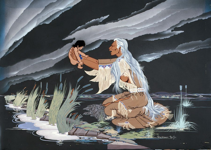 """Blackbear Basin (1921-1980). """"Mandan Mother and Child,"""" ca. 1963. Gouache on illustration board, 29 x 40 in. Gift of Mr. and Mrs. Robert Wallick in memory of Wallace C. Ford. 13.74"""