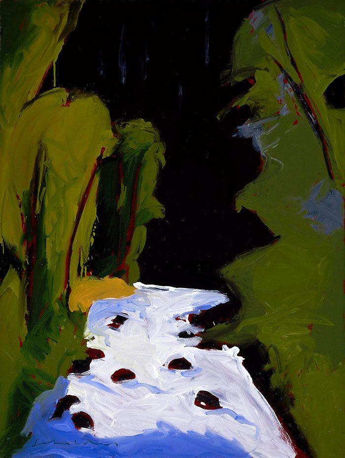 "Fritz Scholder (b. 1937). ""Aspen Summer,"" 1977. Oil on canvas, 40.25 x 30.125 in. Gift of Jack and Carol O'Grady. 25.91.2"