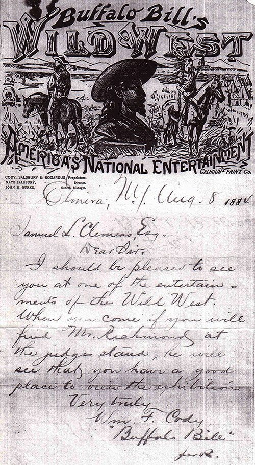 in this letter dated august 8 1884 buffalo bill invited samuel clemens to a