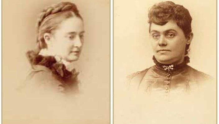 Twain's wife Olivia Louise Langdon Clemens, ca. 1870. (Courtesy the Mark Twain Archive, Elmira College, Elmira, New York.) and Buffalo Bill's wife Louisa Frederici Cody, ca. 1895. (MS 6 William F. Cody Collection. P.69.1791)