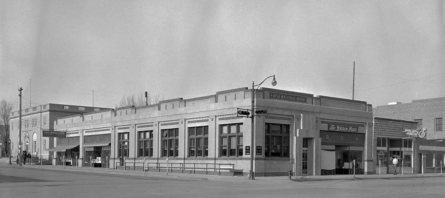 First National Bank, Cody, Wyoming, May 1954. MS 89 Jack Richard Photograph Collection. PN.89.06.1123.01