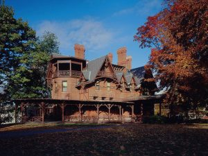 Twain had this 19-room Victorian Gothic Mansion constructed in Hartford, Connecticut, where his family lived from 1871 to 1891, when financial reverses forced the family to leave the home. Photo courtesy The Mark Twain House & Museum, Hartford, Connecticut.