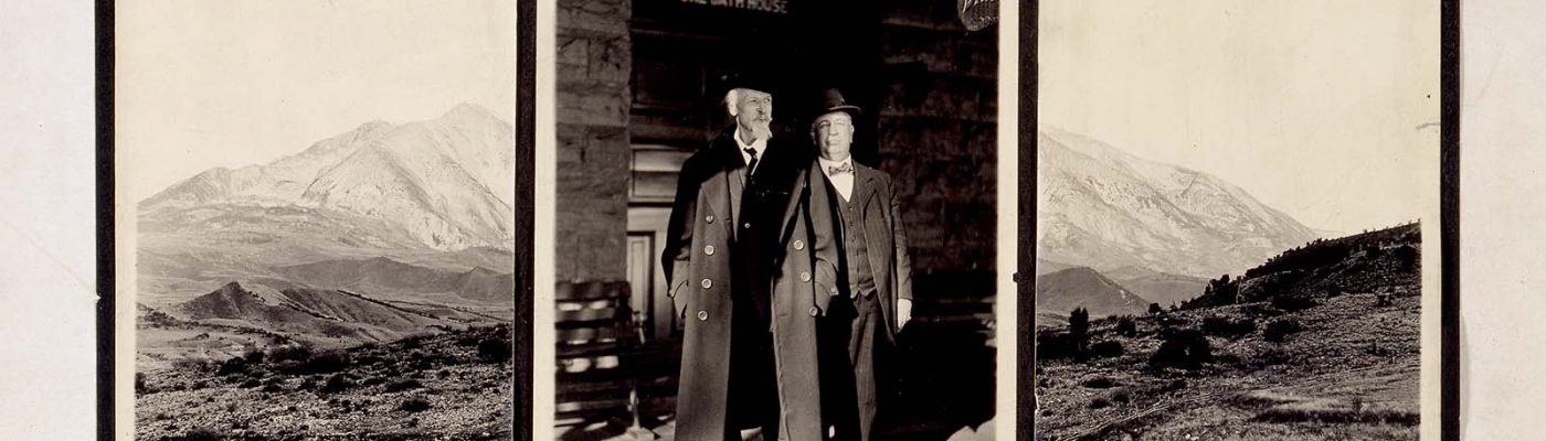 Last known photograph of Buffalo Bill, here pictured with his physician, Dr. Crook, standing outside Stone Bath House, Glenwood Springs, Colorado, 1917. MS 6 William F. Cody Collection. P.69.999