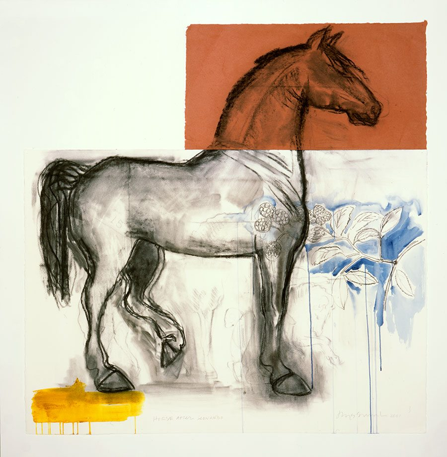 """Juane Quick-to-See Smith, Salish-Cree-Shoshone, (b. 1940). """"Horse After Leonardo,"""" 2001. Charcoal, watercolor and acrylic on paper. Designated Purchase through Meadowlark Fund and William E. Weiss Fund. 1.01"""