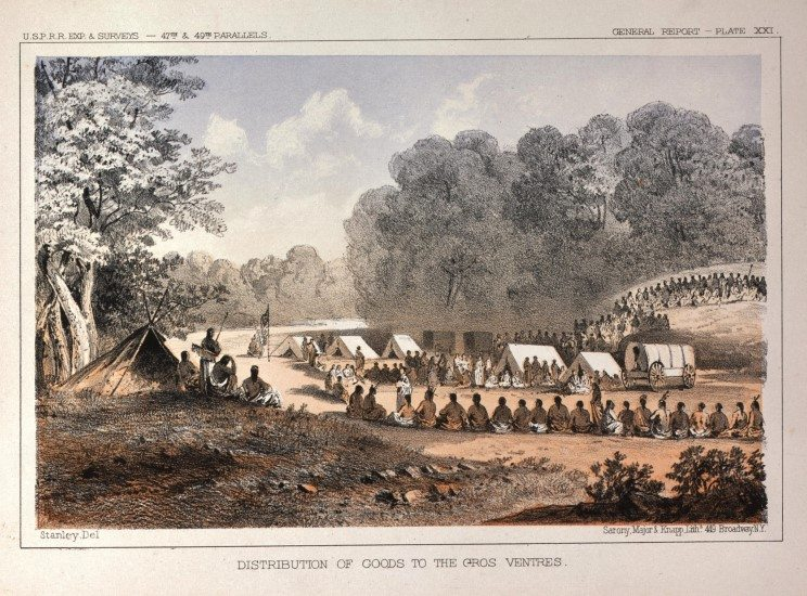 Distribution of Goods to the Gros Ventres, ca. 1857-1860. Tinted lithograph on paper. 12.87.4