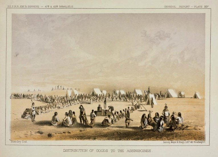 John Mix Stanley. Distribution of Goods to the Assiniboines, ca. 1860. Tinted lithograph on paper. 12.87.5