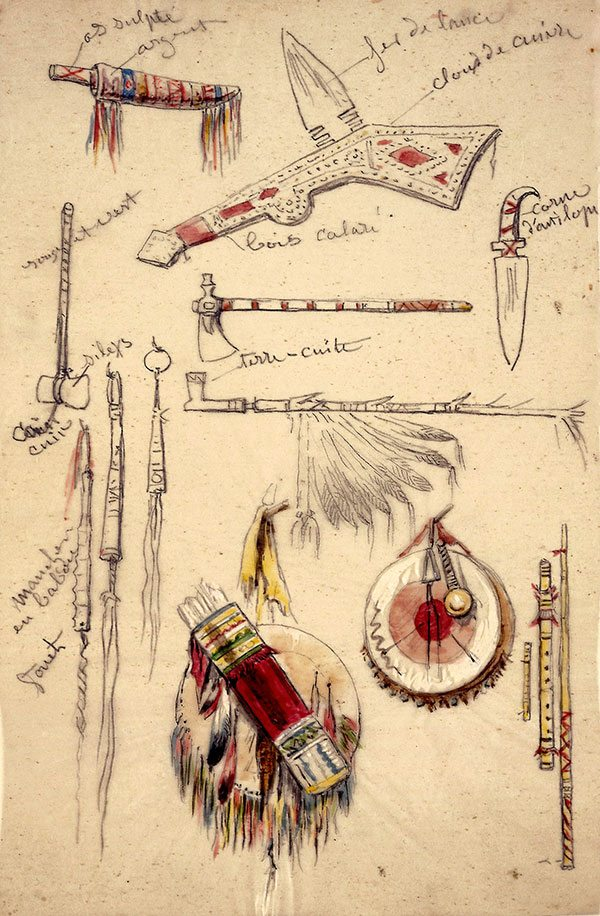 "Rosa Bonheur (1822–1899). ""Indian Artifacts, Weapons and Pipes,"" after 1841. Watercolor on paper. Whitney Purchase Fund. 14.88.1"