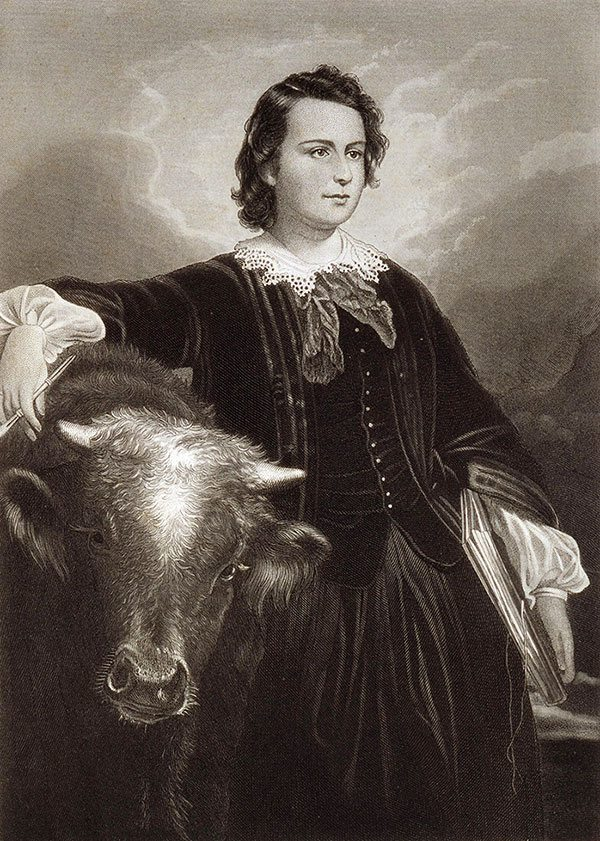 "Edouard-Louis Dubufe, artist, and Oliver Pelton, engraver. ""Rosa Bonheur,"" after 1857. Steel engraving on paper. Gift of the Jack Rosenthal family, Casper, Wyoming, 1993. 21.93."