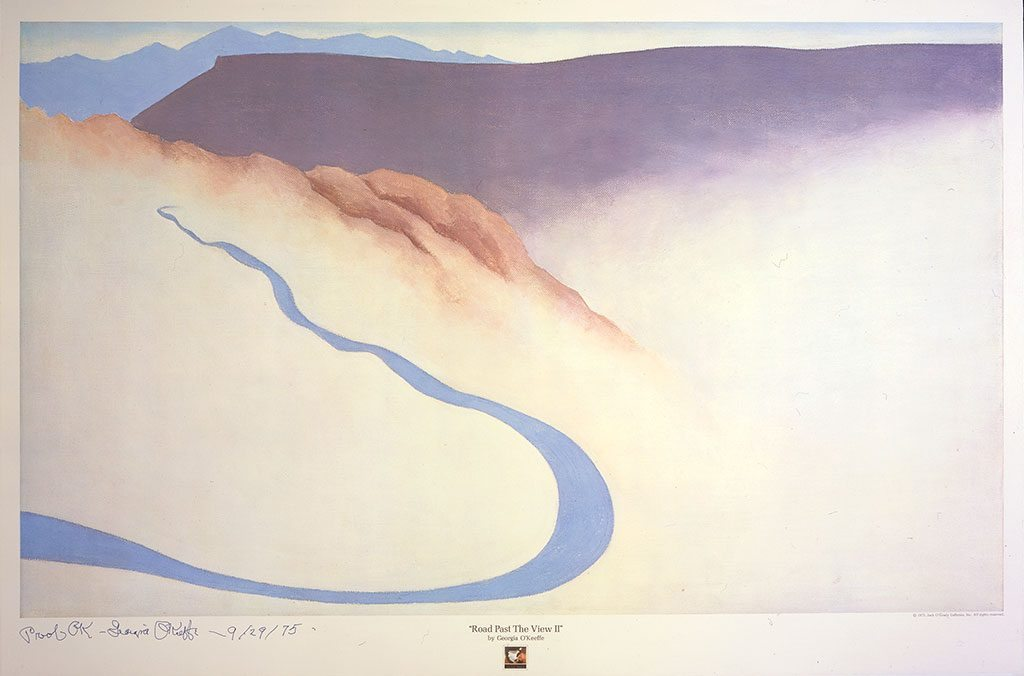 "Georgia O'Keeffe (1887–1996). ""Road Past the View II,"" 1975. Lithograph on paper. Gift of Carol and Jack O'Grady. 25.00.1"