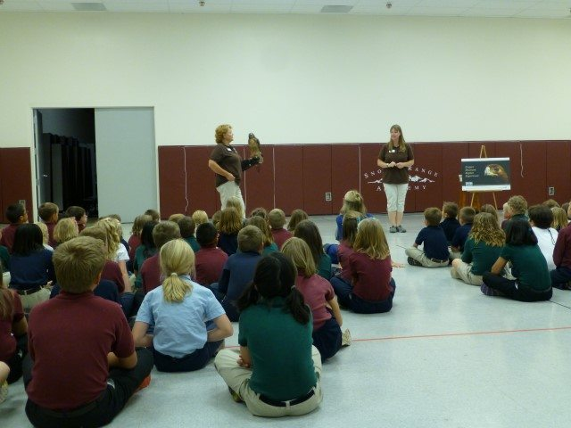 Presenter and handler with red-tailed hawk and group of students.