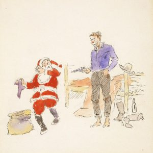 Charles M. Russell. Christmas card (Santa and cowboy). 1910-1913, watercolor on paper.