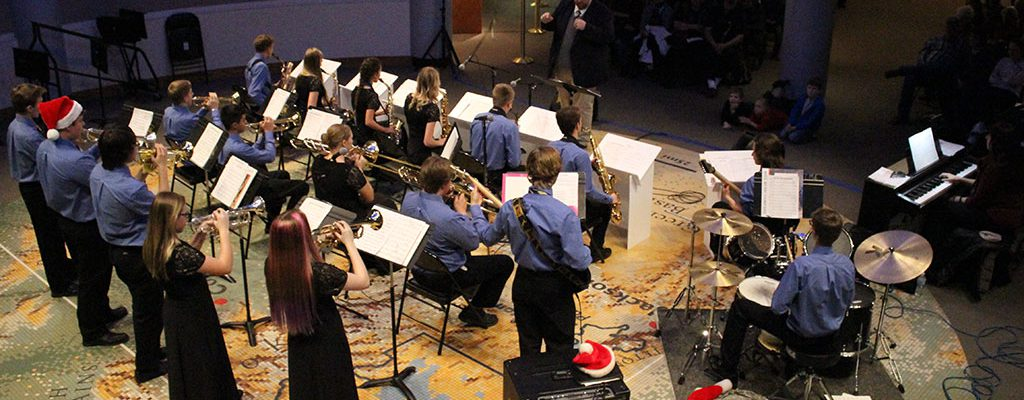 The Cody High School Jazz Band performing at the Holiday Open House in 2016.