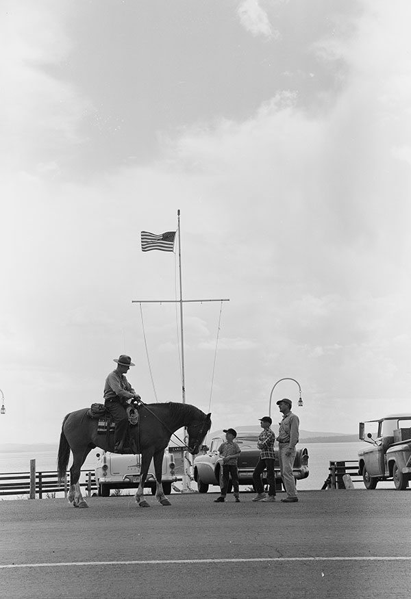 Ranger Bob Richard and his horse Big Red meet the public and answer questions next to Yellowstone Lake, 1960. MS 89 Jack Richard Collection. PN.89.26.4322.23