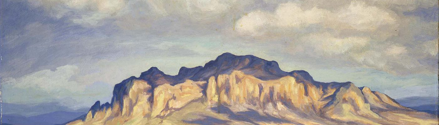 Olive Fell. Landscape. ca. 1950, oil on board. Gift of Paul Krogman and Claude Rauch in memory of Bill Cody. 1.93.1 (detail)
