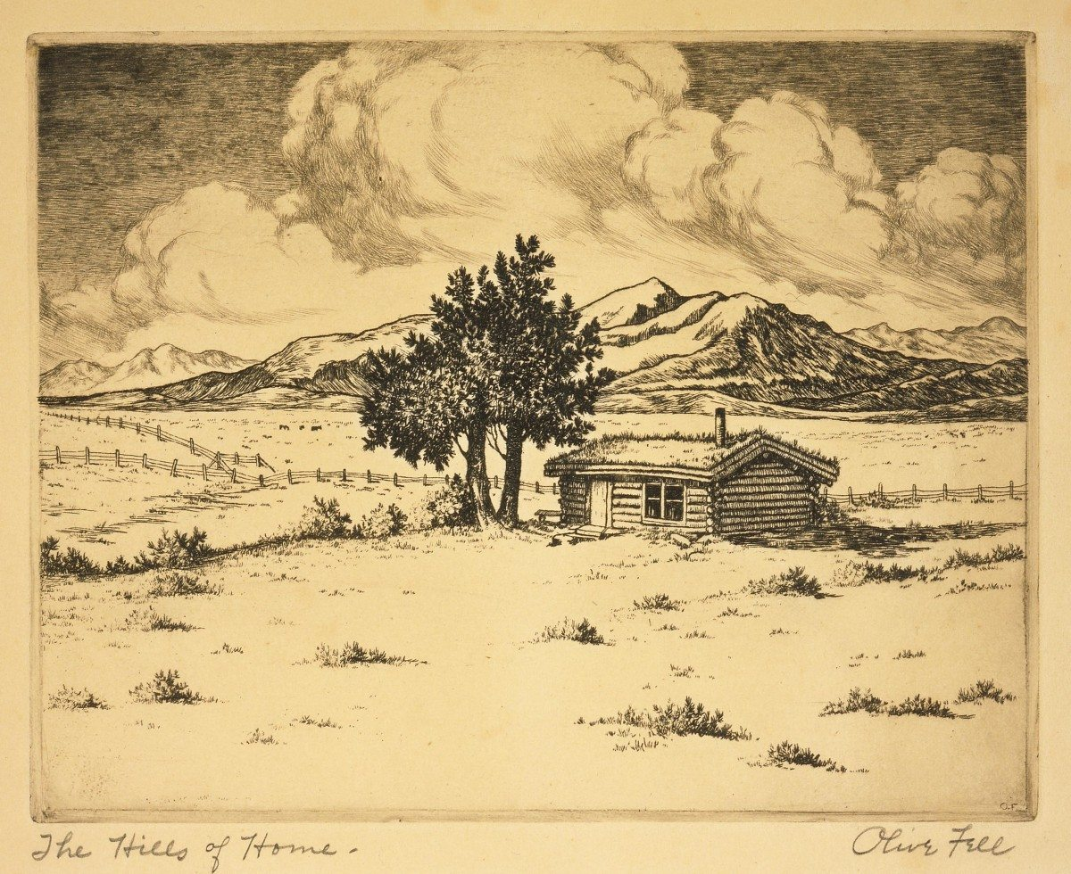 The Hills of Home. date unknown, etching on paper. Gift in Memory of Elmer (Forest Ranger at Wapiti, 1838-1946) and Ruth Miller. 2.06.3