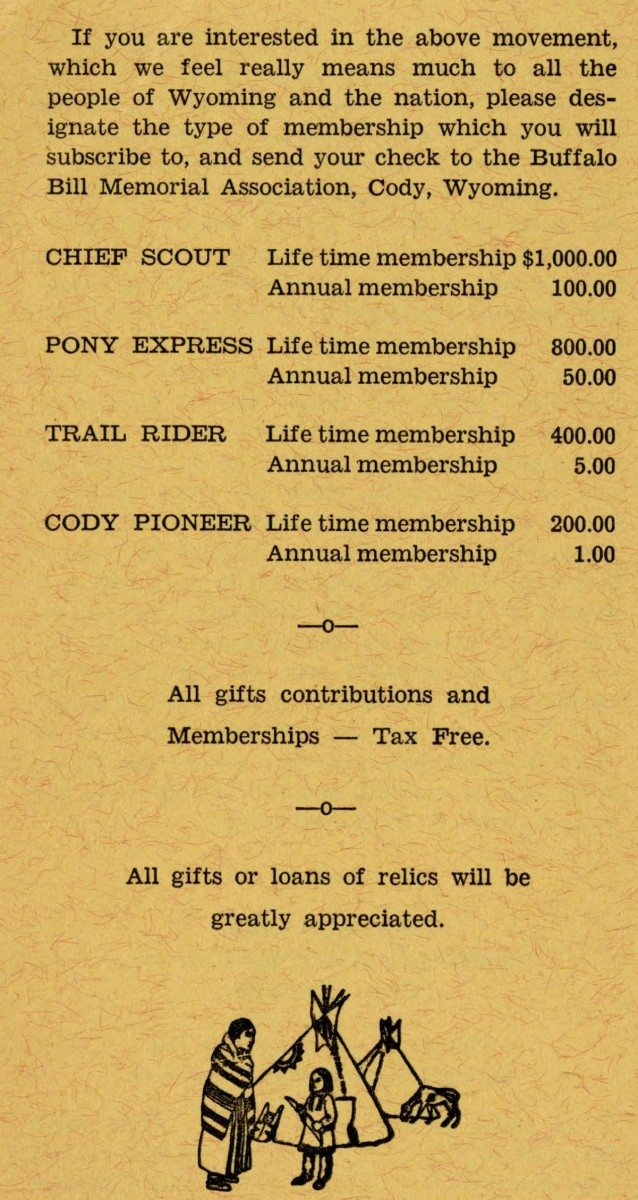 Buffalo Bill Memorial Association flyer, ca. 1930