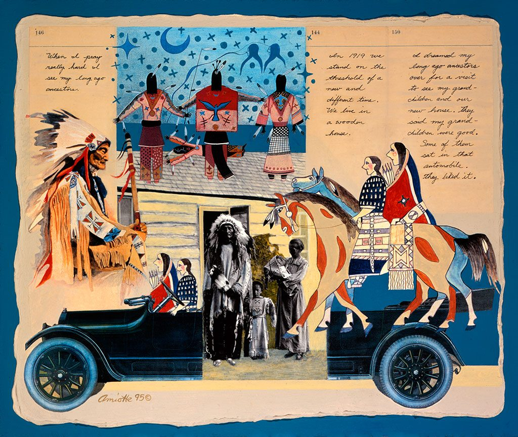 """Arthur Amiotte (b. 1942). """"The Visit,"""" 1995. Acrylic and collage, 19 3/8 x 23 3/8 in. Gift of Mrs. Cornelius Vanderbilt Whitney. 17.95"""