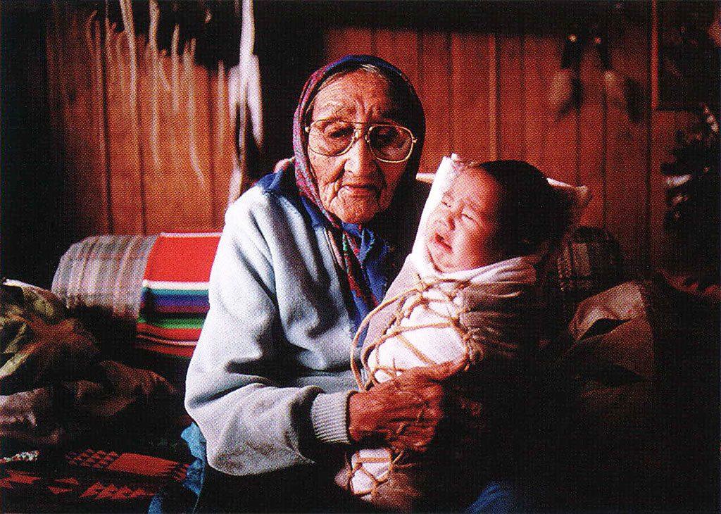 Victoria Has The Eagle and her great-grandchild. Ken Blackbird, 1993.